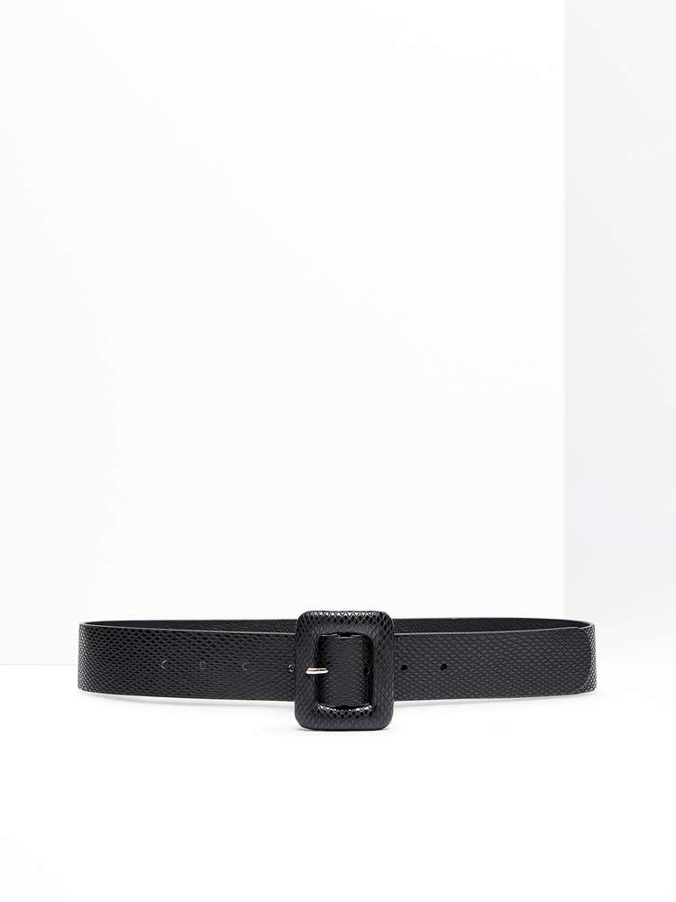 Python-print leather belt