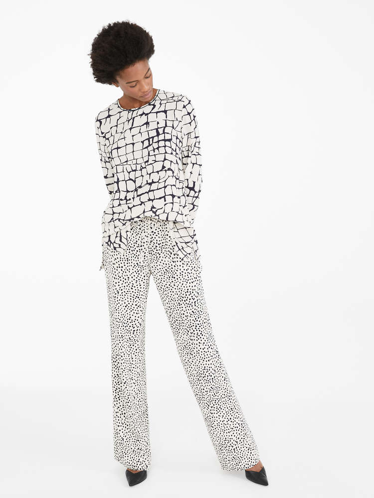 Printed cady trousers