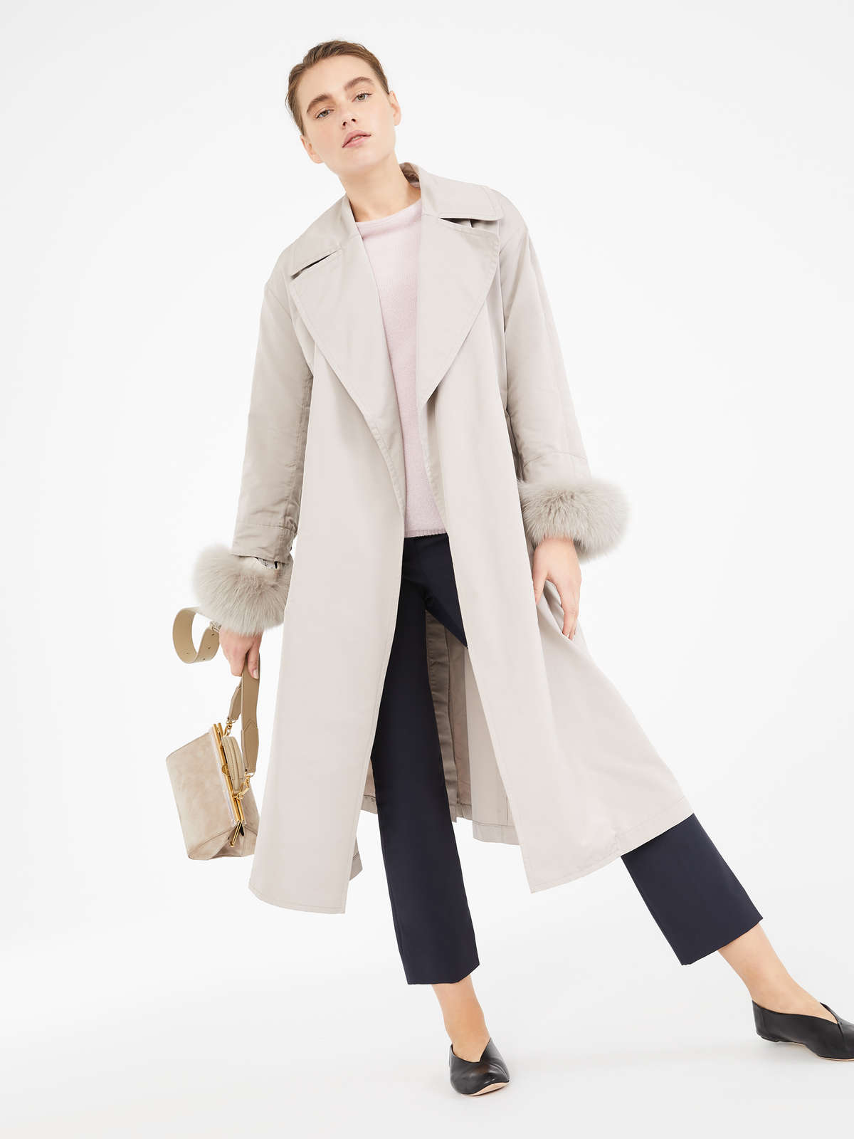 Water-repellent faille trench coat
