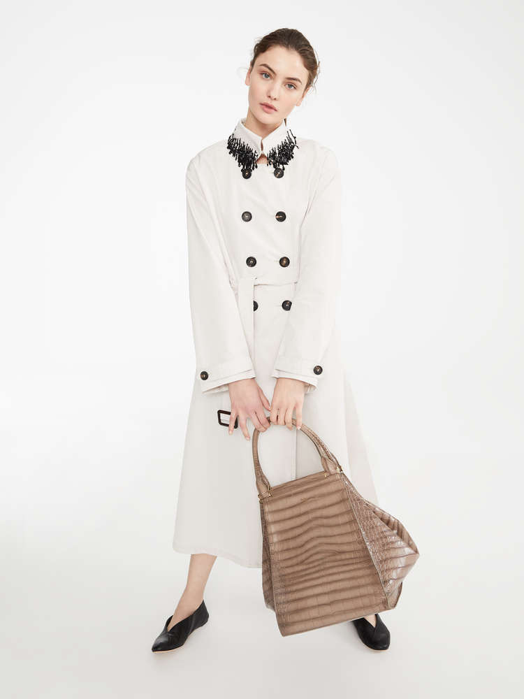 Water-repellent canvas trench coat