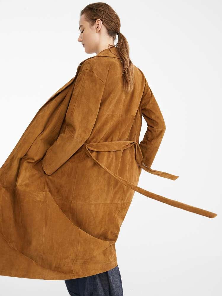 Long manteau léger en cuir suédé