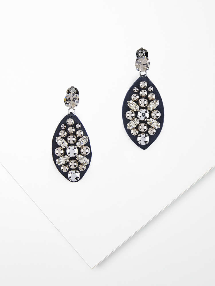 Embellished suede earrings