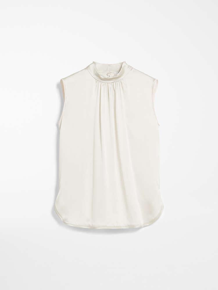 Silk satin and jersey top