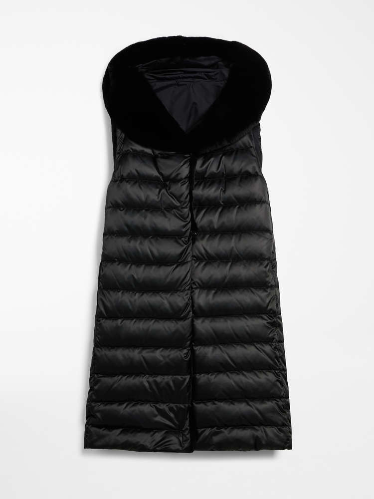 Reversible gilet in water-repellent satin