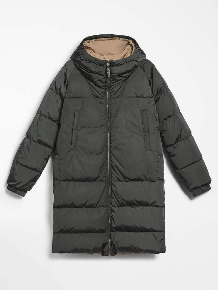 Reversible parka in water-repellent taffeta