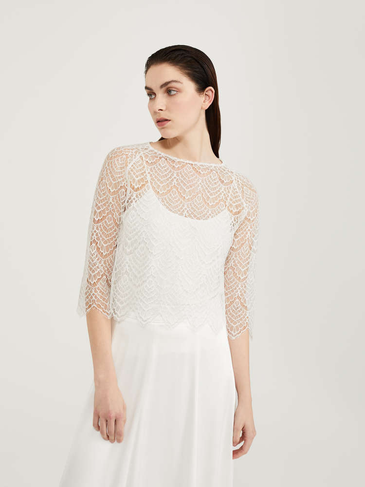 Top in rebrodé lace