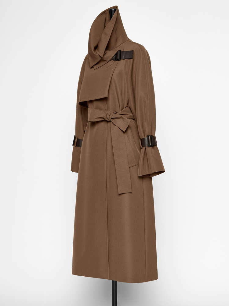 Water-resistant gabardine trench coat