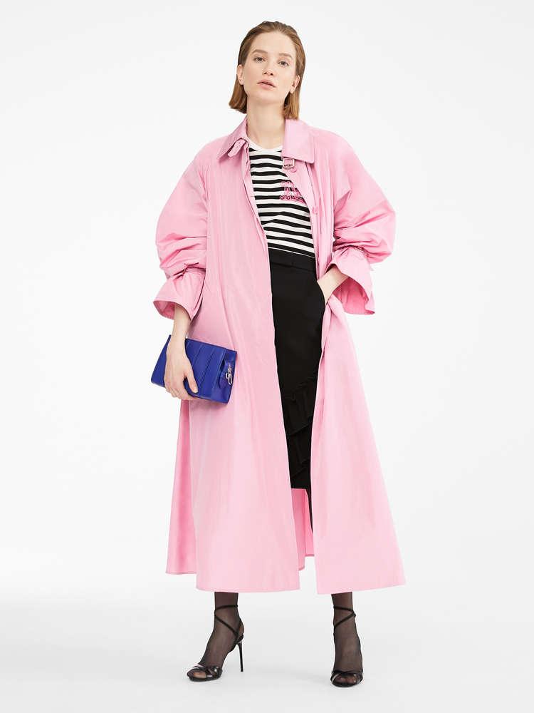 Water-resistant taffeta trench coat