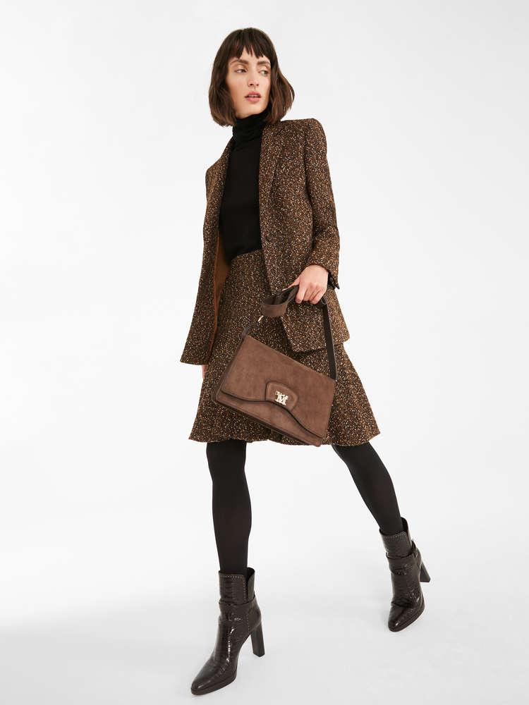 Wool blend tweed blazer
