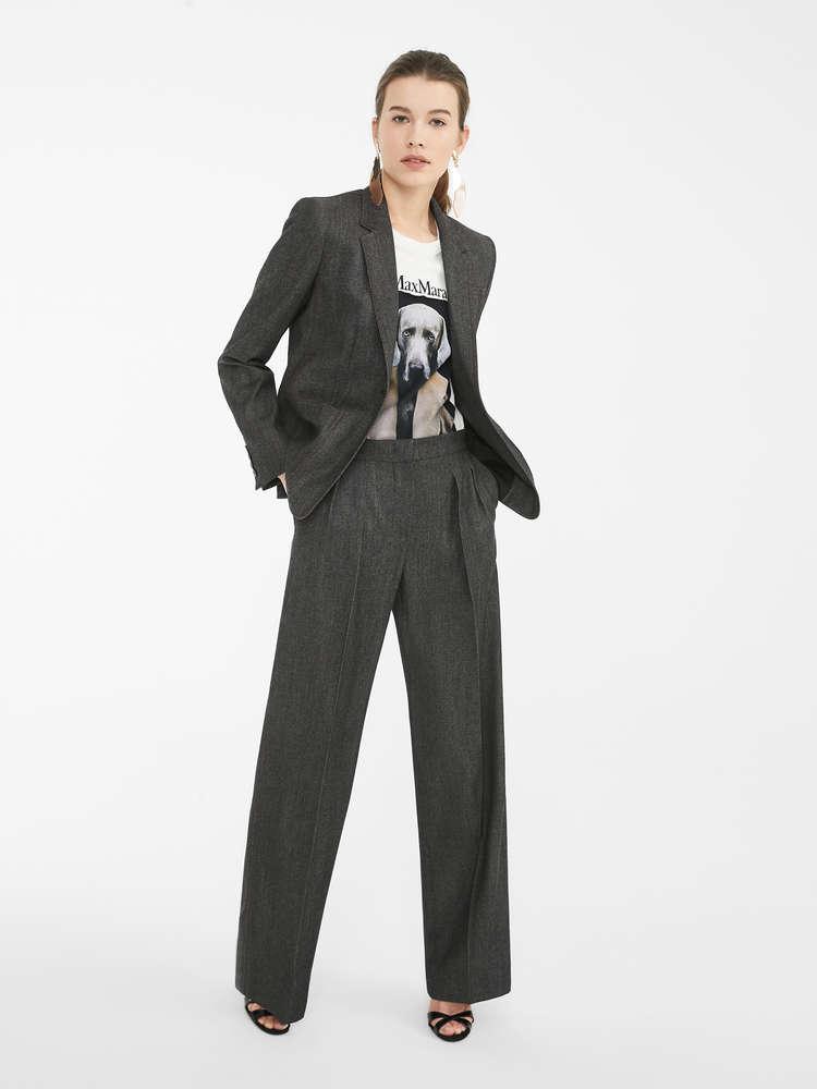 Denim-effect wool trousers