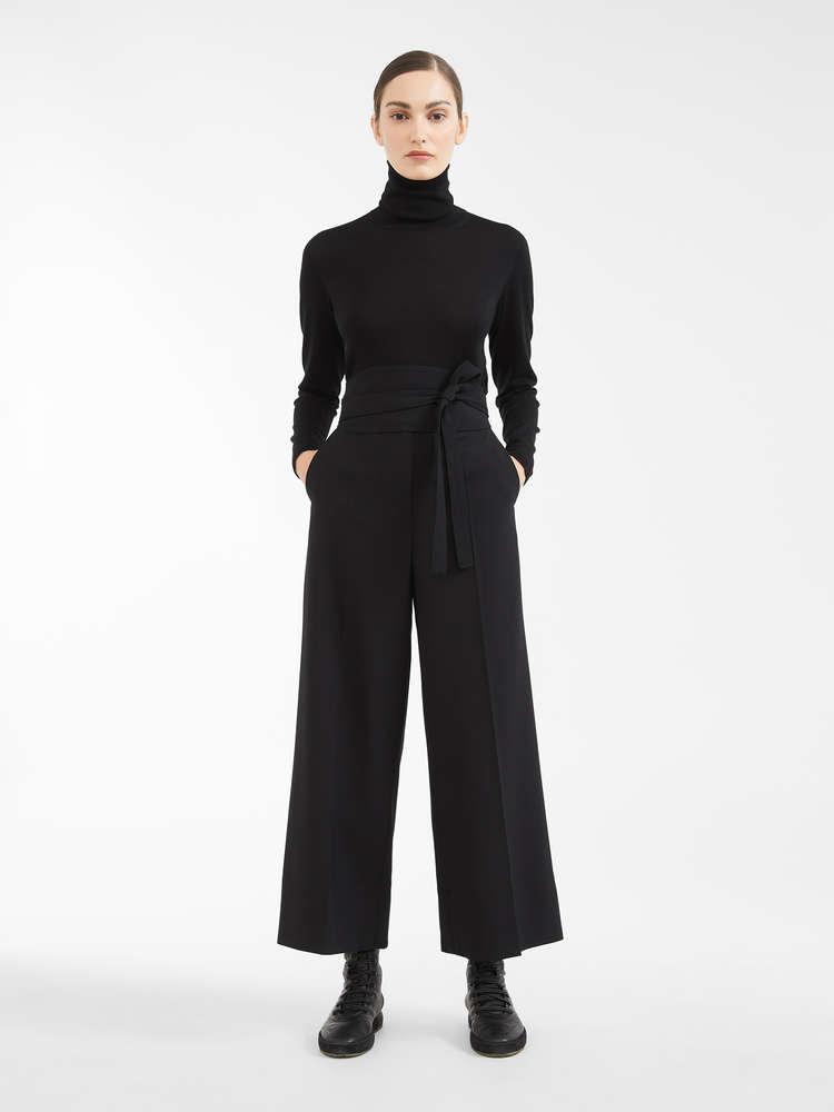 Pantaloni in crêpe di lana