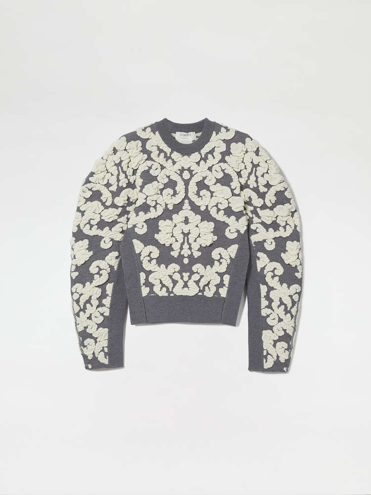 Jacquard-Pullover mit Kimono-Ärmeln