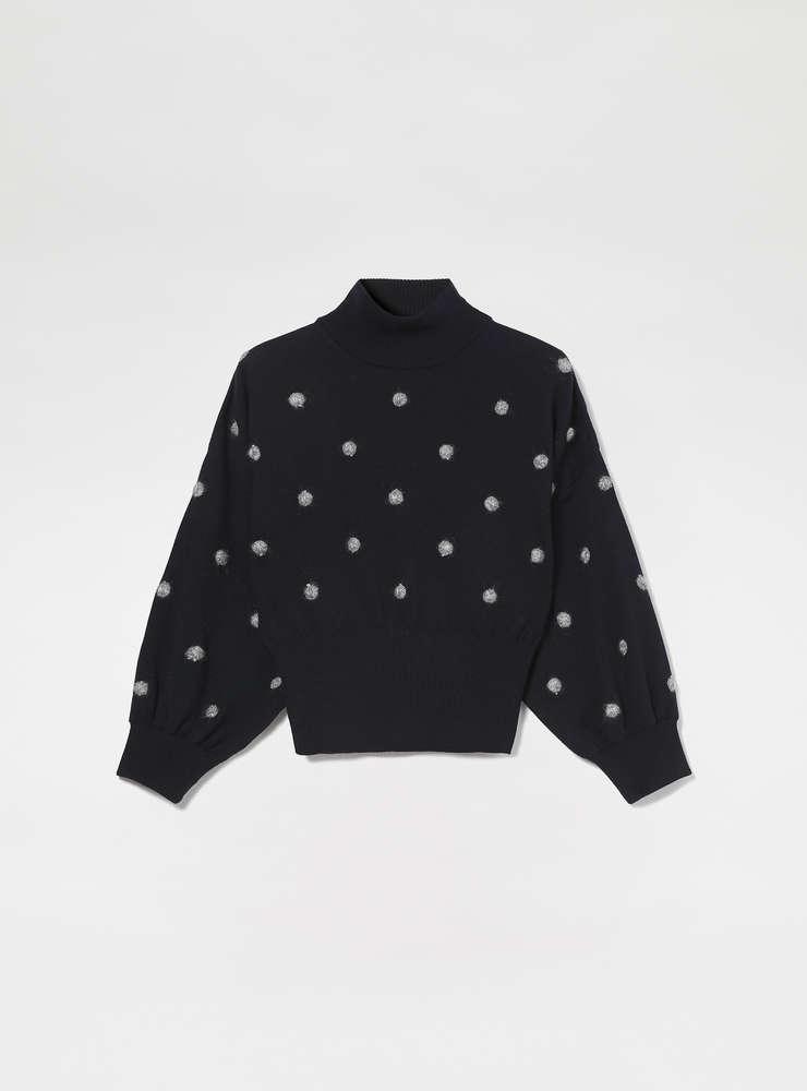 Balloon Sleeve Dot Sweater