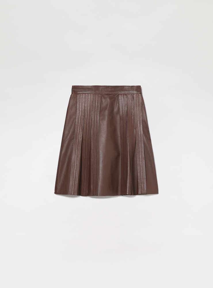 Pleated Nappa Leather Skirt