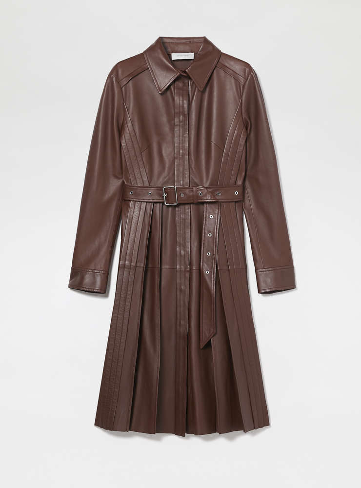 Pleated Nappa Leather Overcoat