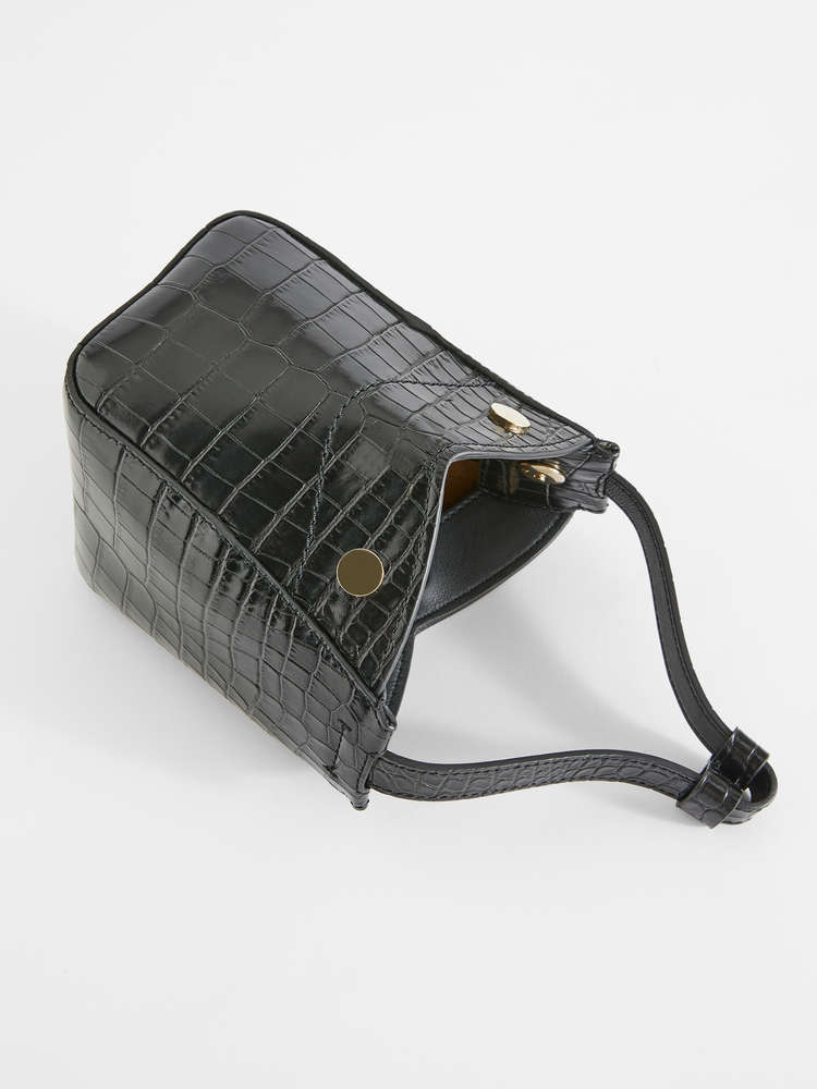 Crocodile-print leather shopper bag
