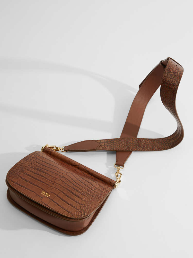 Cross-body bag in crocodile-print leather