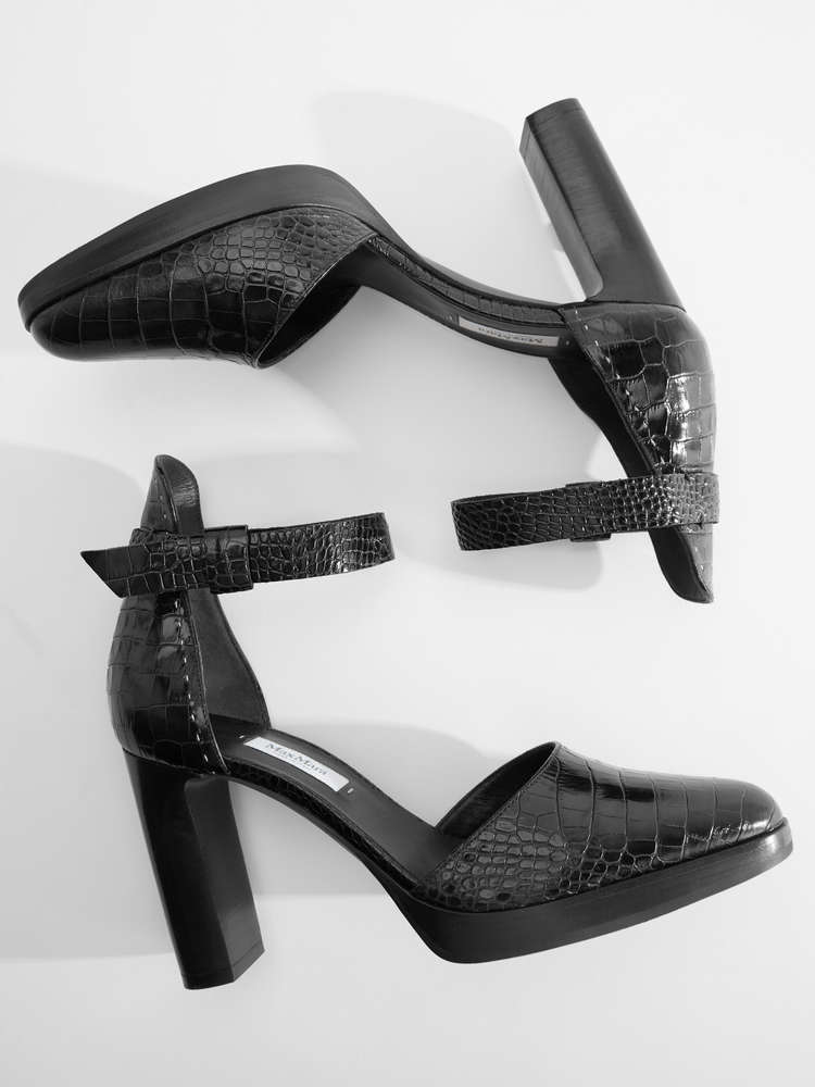 Crocodile-print leather sandals