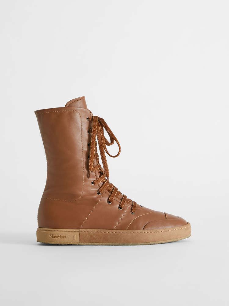 Leather boxeur sneakers, tobacco