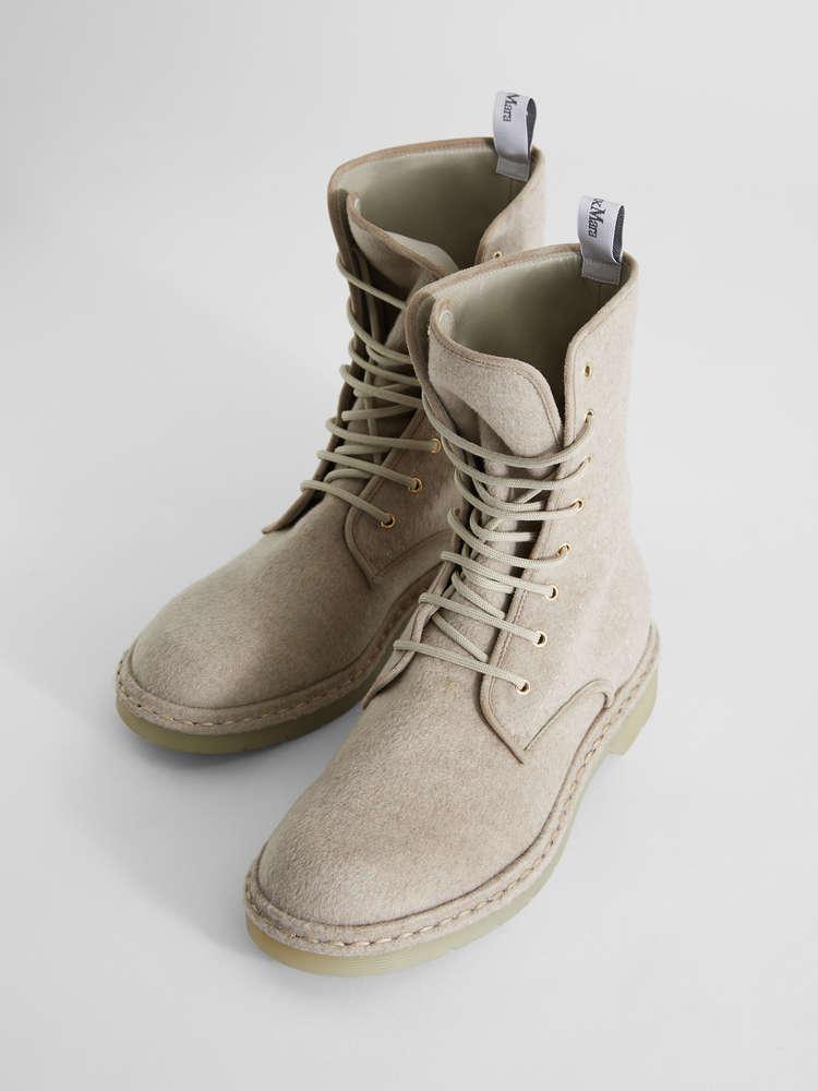 Cashmere combat boots