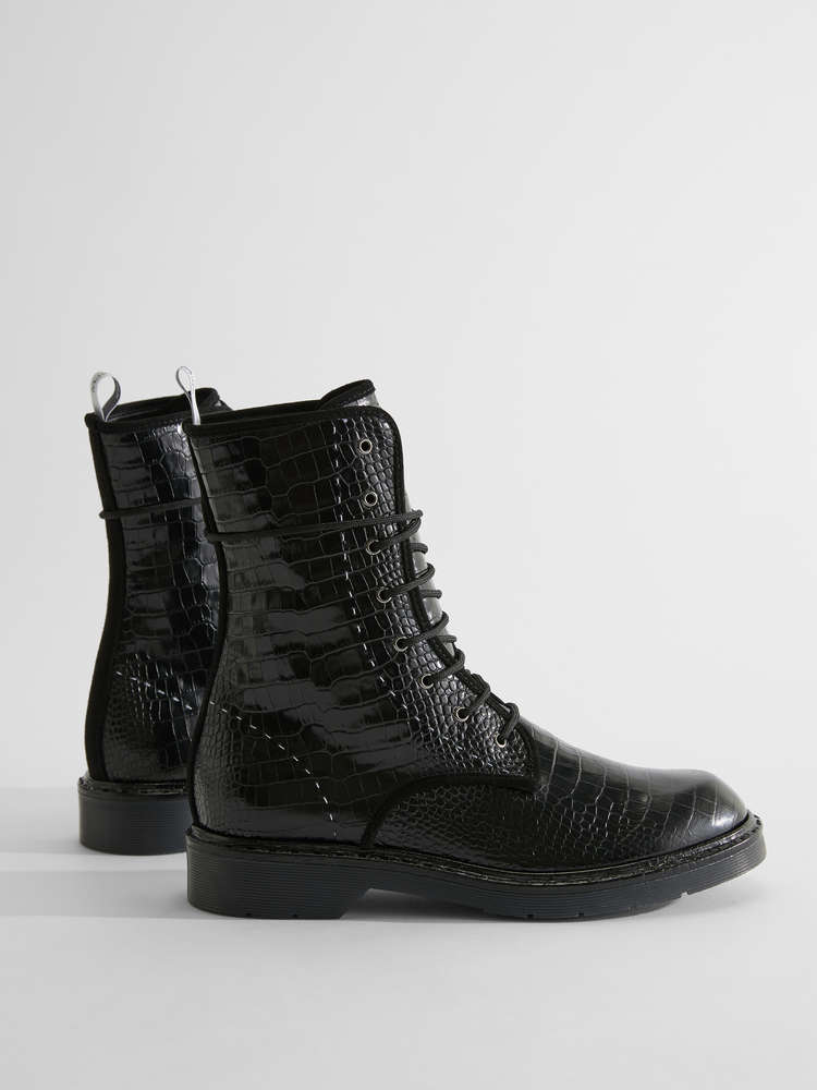 Crocodile-print leather combat boots