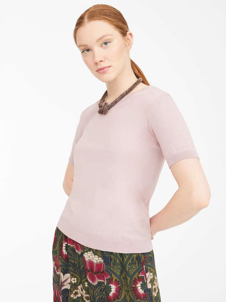 Cotton and silk yarn T-shirt