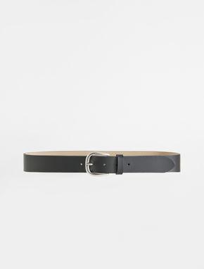Semi-gloss leather belt