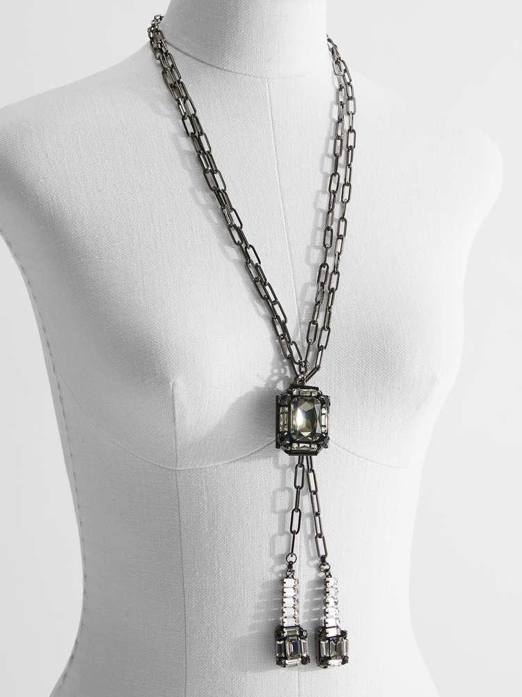 Necklace with rhinestone pendants