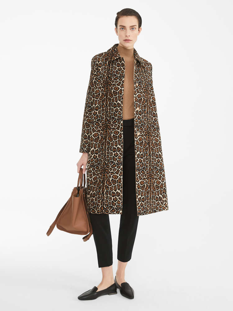 Cotton and jacquard wool duster coat