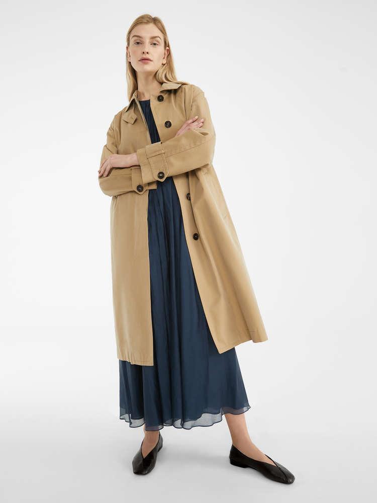 Water-resistant gabardine trench coat
