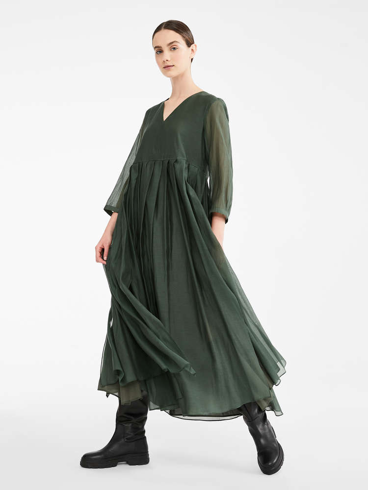 Cotton voile and silk dress