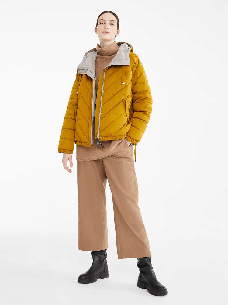 Reversible down jacket in water-resistant taffeta