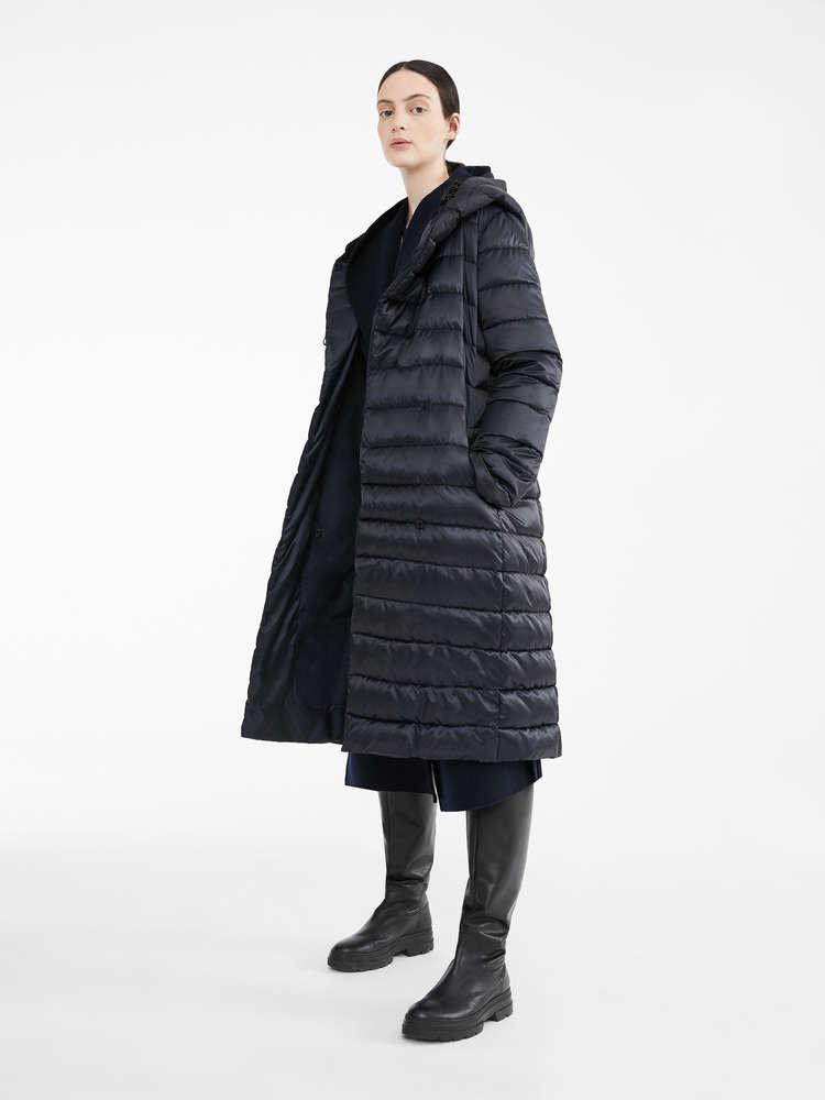 Reversible down jacket in water-resistant satin