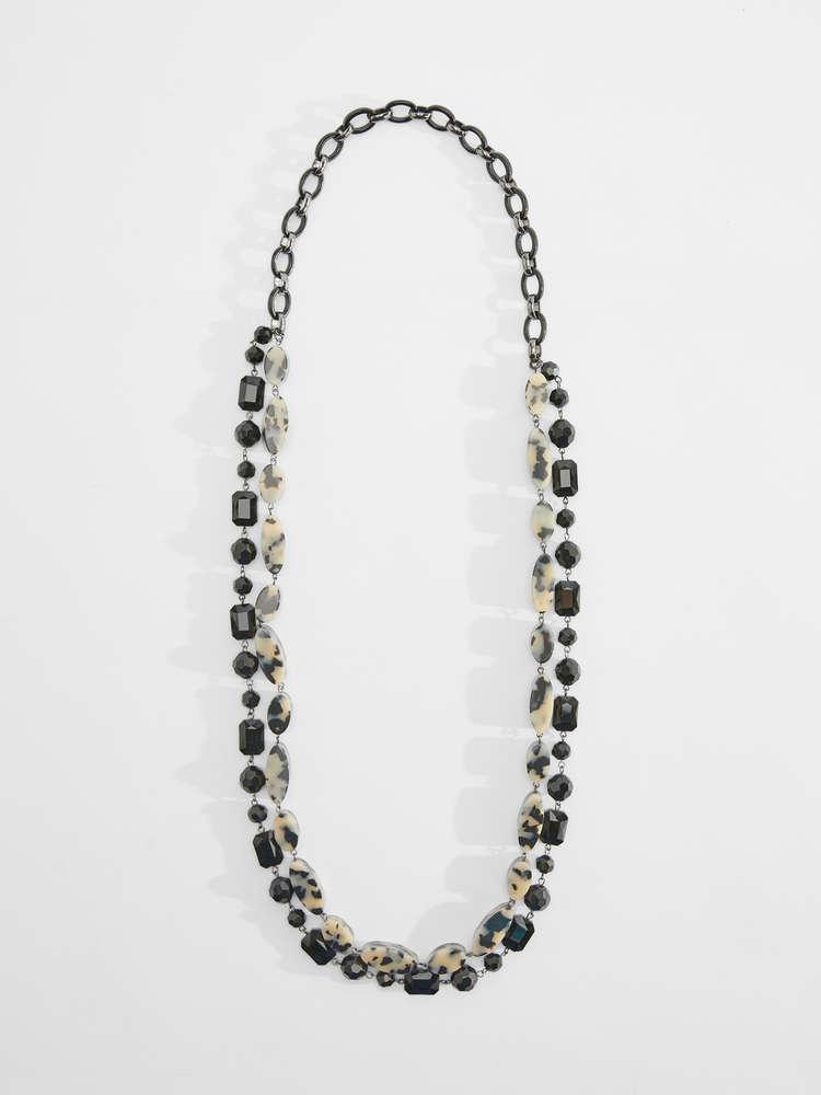 Long multi strand necklace
