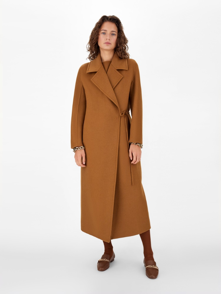 Double hand-stitched pure camel coat