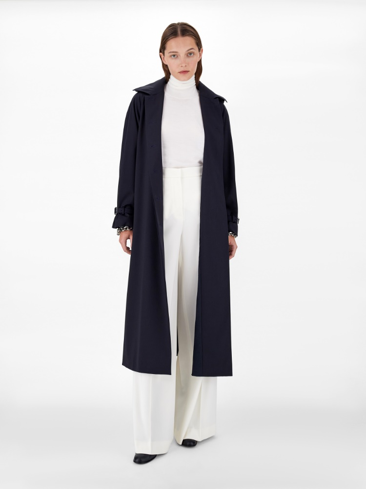 Trench raincoat in pure wool twill