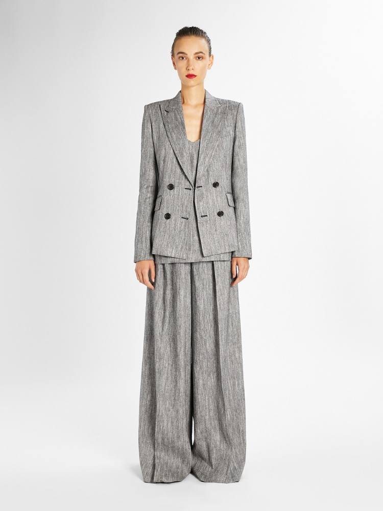 Silk and linen tweed blazer