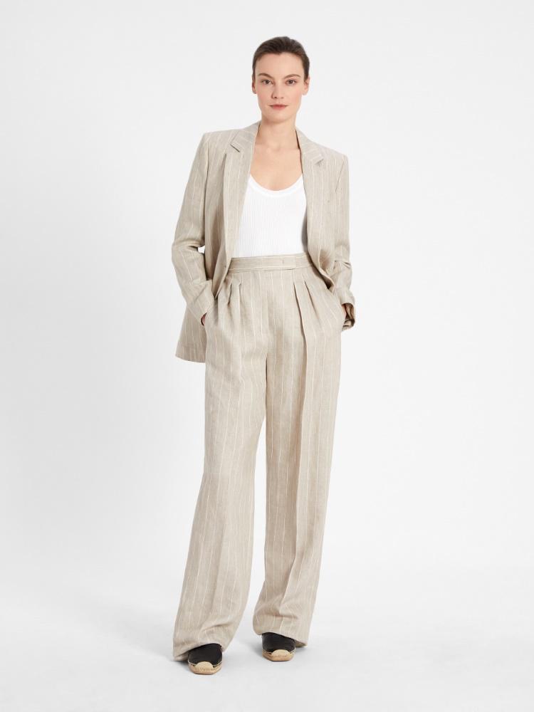 Pinstripe linen twill blazer