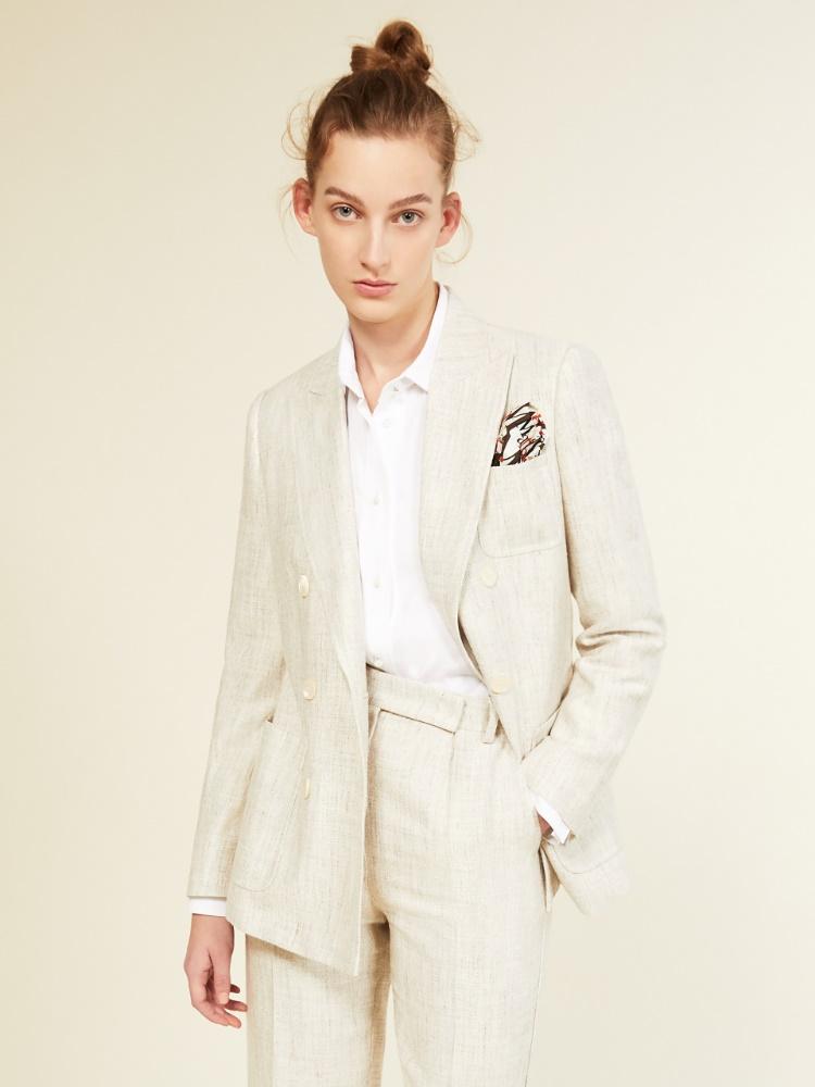 Silk and linen basketweave blazer