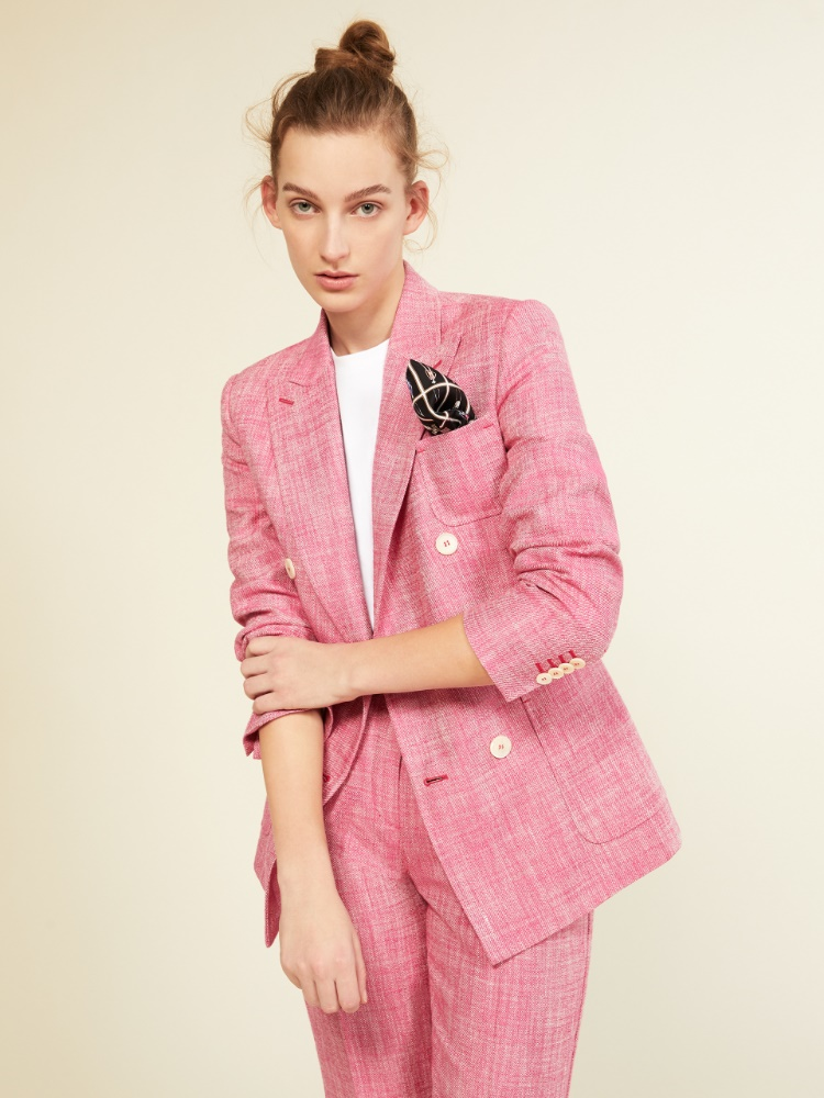 Silk and linen basketweave blazer
