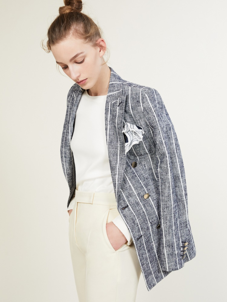 Blazer in wool, silk and linen basketweave