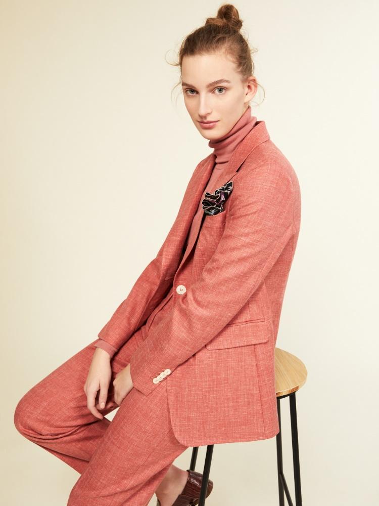 Blazer in wool, silk, linen and cashmere basketweave