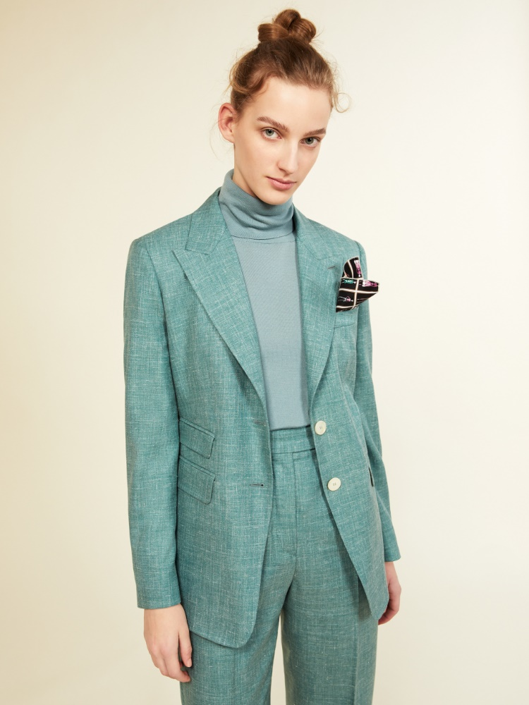 Blazer in wool, silk, linen and cashmere basketweave
