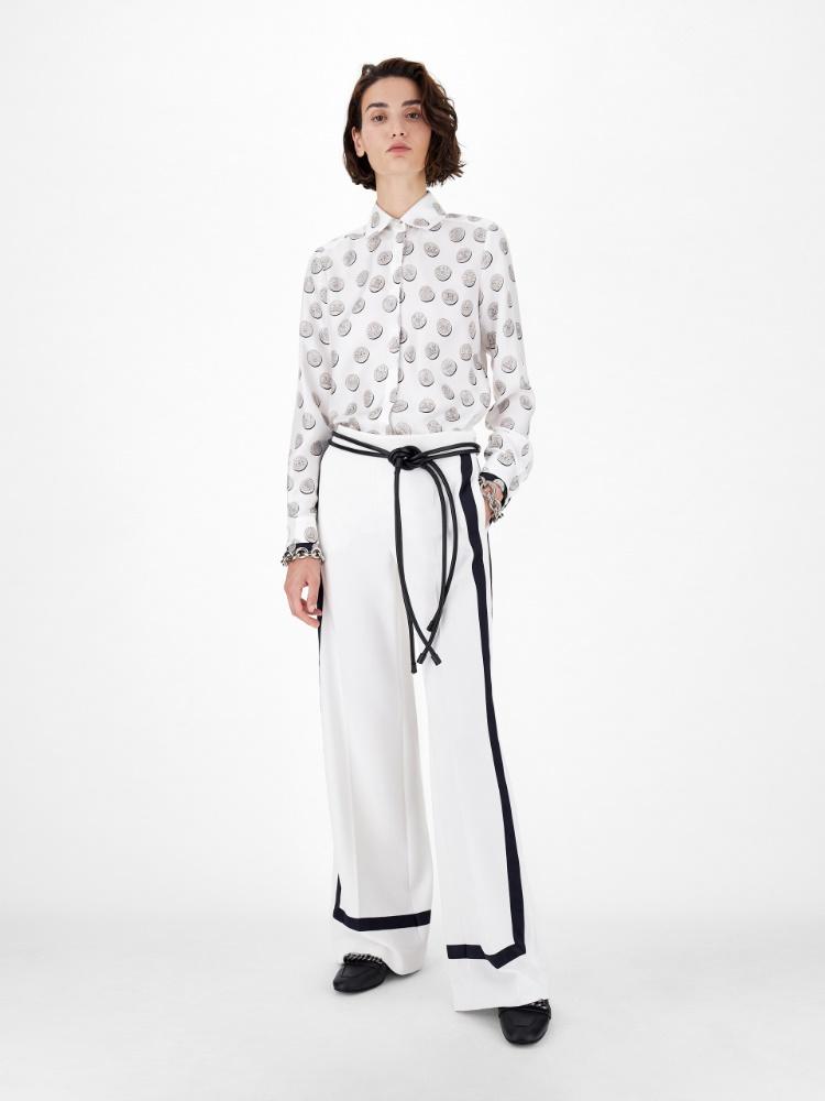 Men's-style printed pure silk twill shirt