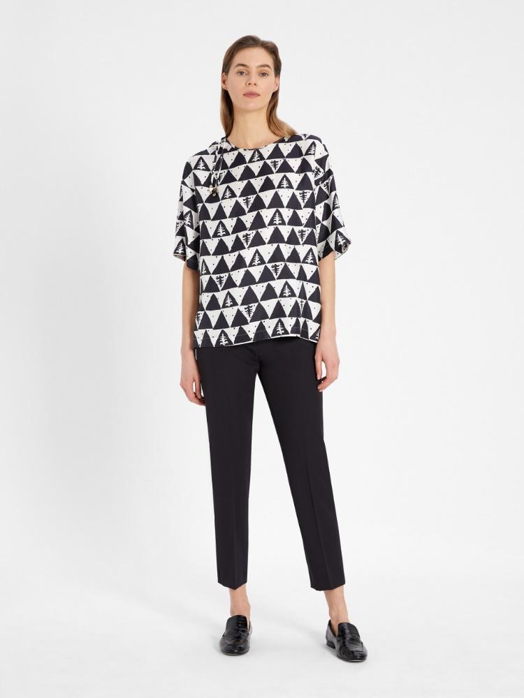 Printed silk twill T-shirt