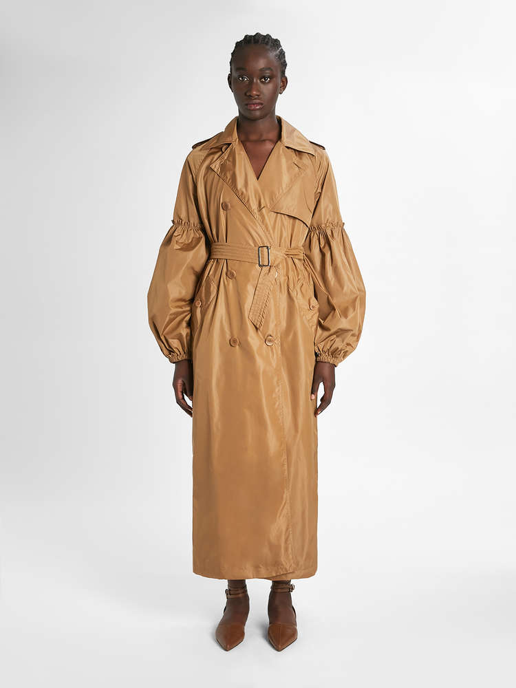 Silk taffeta trench coat