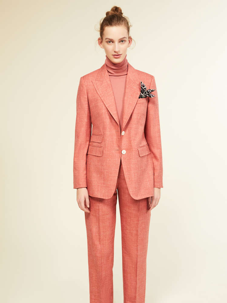 Trousers in wool, silk, linen and cashmere basketweave