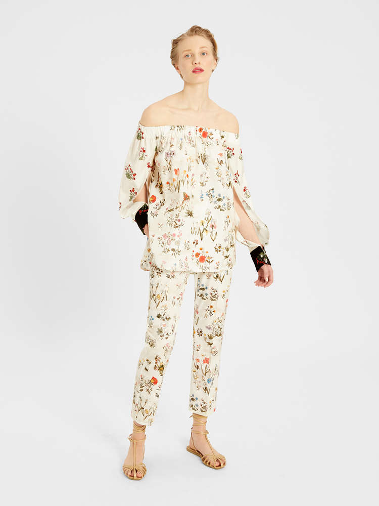 Printed cotton poplin trousers