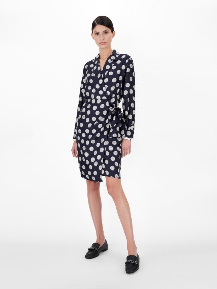 Wrap dress in printed pure silk twill