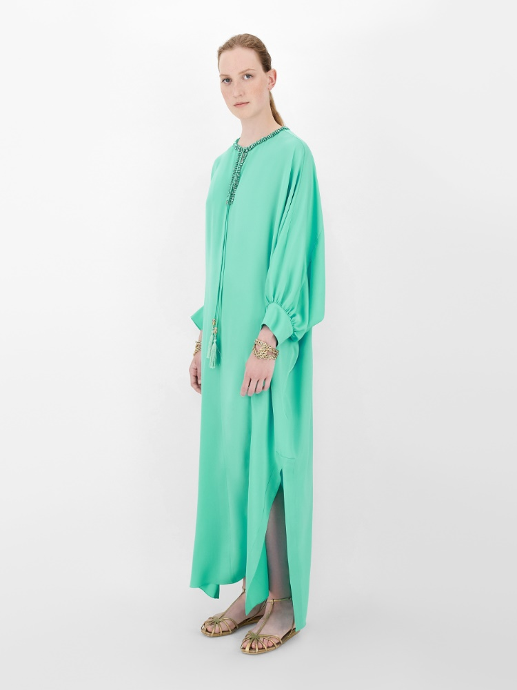 Silk charmeuse kaftan dress